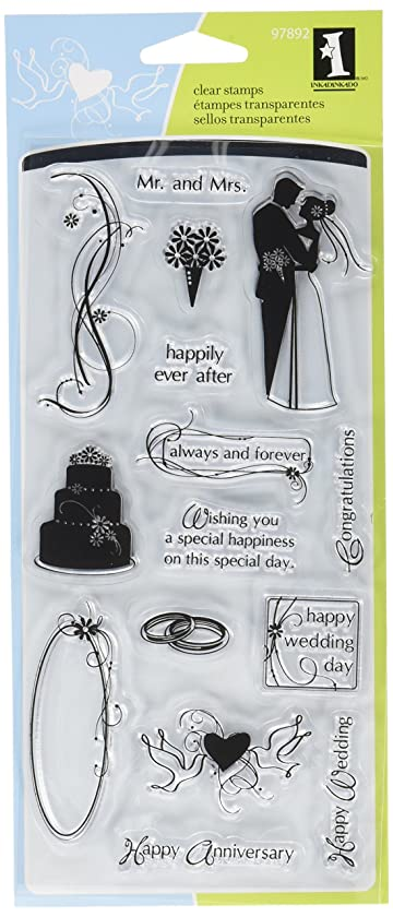 Inkadinkado Clear Stamp Set for Wedding Invitations and Cards, 15pc