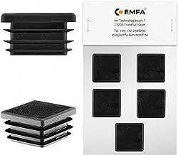 Vierkante stoppen 20x20 mm zwart   5 stuks   kunststof eindkappen afsluitdoppen