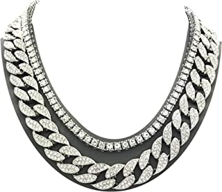 Mens Iced Out Hip Hop Silver tone CZ Miami Cuban Link...
