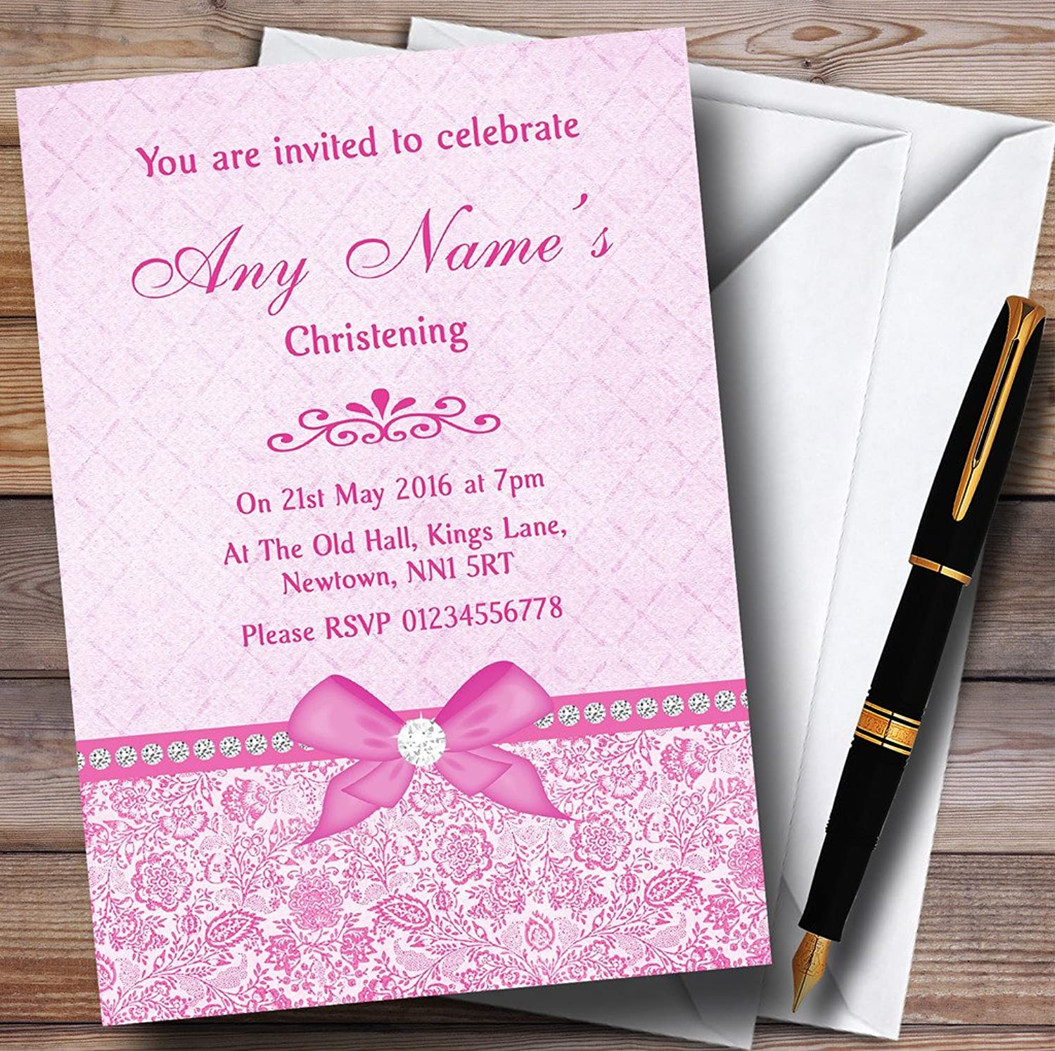 Pretty Floral Vintage Bow & Diamante Pink Personalised Christening Invitations Invites & Envelopes