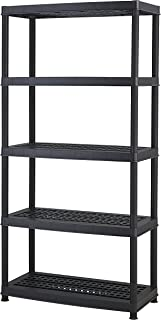 Keter 5-Shelf Heavy Duty Utility Plastic Freestanding Ventilated Shelving Unit, Black