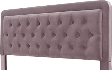 Elle Decor Amery Diamond Stitched Headboard, Upholstered in Velvet or Microfiber Button-Tufting, Eastern King, Mauve