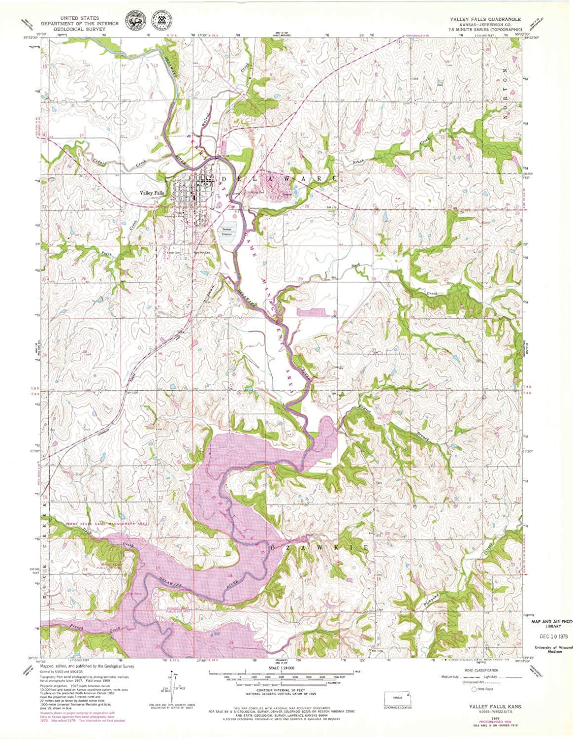 Valley Falls KS topo map, 1 24000 Scale, 7.5 X 7.5 Minute, Historical, 1959, Updated 1979, 27.11 x 21.16 in