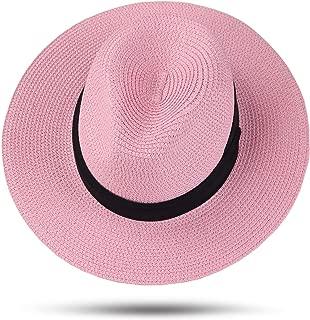 Womens UPF 50+ Wide Brim Panama Straw Hat Foldable Fedora Beach Sun Hat