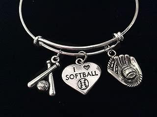 I Love Softball Bats Mitt Glove Expandable Charm Bracelet Adjustable Bangle Sports Team Coach Gift
