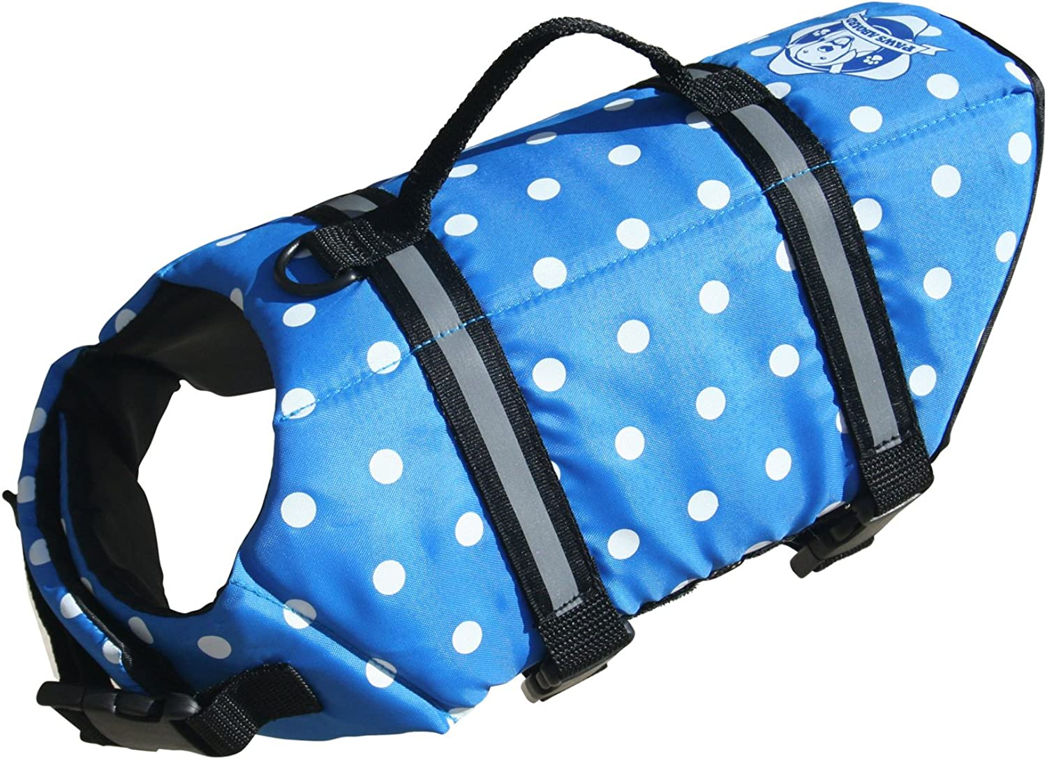 Designer Dog Life Jacket in bluee Polka Dot Size  XXSmall (Dogs up to 6 lbs) by Paws Aboard