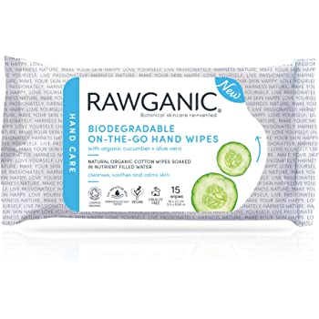 RAWGANIC On-the-Go Hand Wipes, Moist Alcohol-free Fragrance-free Biodegradable Organic Cotton Wipes, with Aloe Vera & Cucumber (15 wipes/pack)