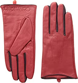 Leather Gloves w/ Color Pop & Debossed Logo