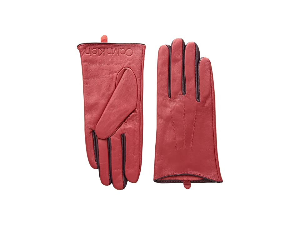 Calvin Klein Leather Gloves w/ Color Pop Debossed Logo (Red) Extreme Cold Weather Gloves