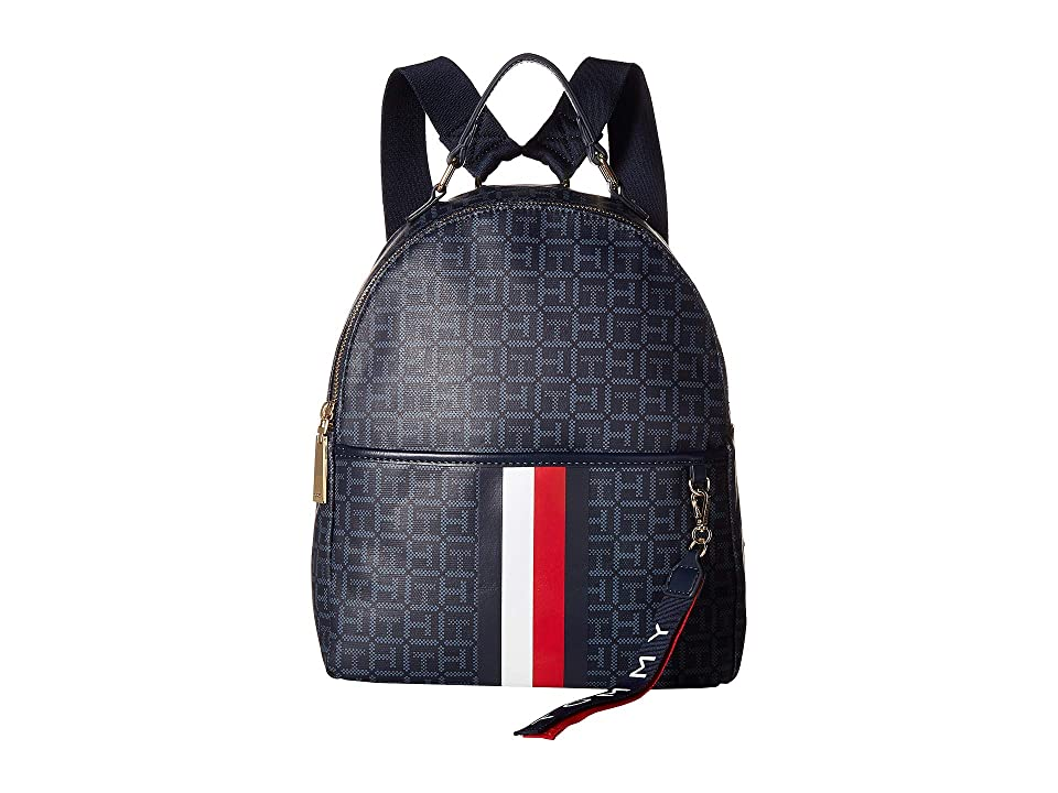 Tommy Hilfiger Roma Backpack Square Mono Coated Canvas (Navy/Vintage Indigo) Backpack Bags