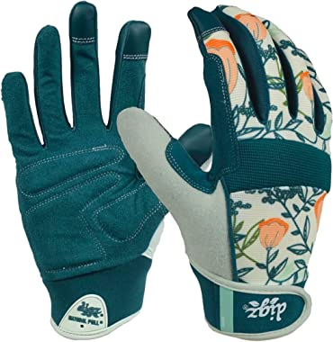 DIGZ 77862-23 High Performance Women's Gardening Work Touch Screen Compatible Fingertips Gloves, Large, Coral Floral Patt