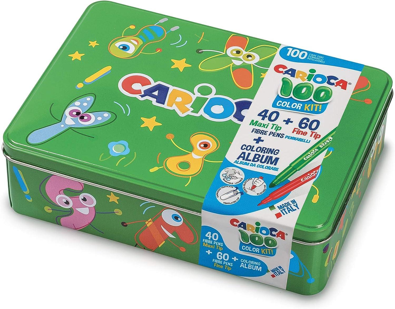 Carioca Box  42736/04 - Caja de Lata Verde con 100 Rotuladores Superlavables con Punta Fina y Maxi y Álbum para Colorear