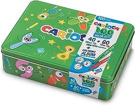 CARIOCA BOX | 42736/04 - Caja de Lata Verde con 100 Rotuladores Superlavables con Punta Fina y Maxi y Álbum para Colorear