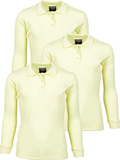 Girls Long Sleeve School Uniform Knit Polo Shirts (3 Pack)