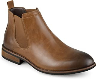 Vance Co. Mens Faux Leather High Top Round Toe Chelsea Dress Boots