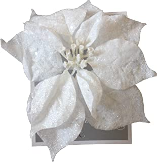 Country Silk 2 x 9 Inch Clip On Christmas Decoration Glittered Poinsettia Ornament (2 White)