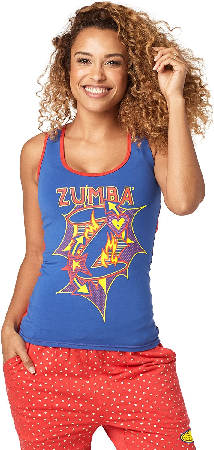 Zumba Graphic Print Dance Fitness Tank Activewear Workout Tops for Women Camicia Donna
