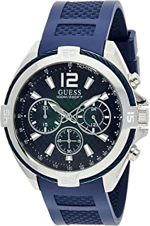 Guess W1168G1 analog Silicone Sport Watch For Men - Navy Silver