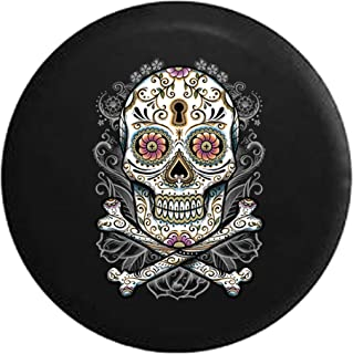 Spare Tire Cover Sugar Skull Paisley with Flowers with Greys Tattoo fits Jeep Wrangler, Rubicon, Sahara, Liberty, Rav4 & RV Accessories 33 Inch