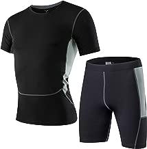 AiJump Herren Kompression Under Base Layer Sportlich Fitness T-Shirt Muskelshirt mit Herrenleggings Hose Kurz