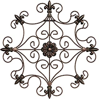 Lavish Home Medallion Metal Wall Art, Hand Crafted with Distressed Finish-Mounting Screws Included, 14.25