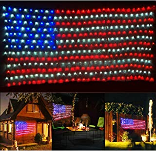 Jxystore American Flag LED String Lights Large USA Flag Outdoor Lights Waterproof Hanging Ornaments for Independence Day, Festival Decoration(Red,Blue,White)