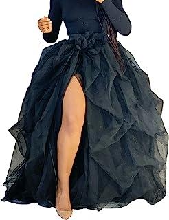 Bowanadacles Women Hi Slit Tutu Maxi Dress Tulle Ruffle Mesh Lace Long Skirt Floor Length Layered Evening Dress Wedding Night Party Skirt