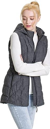 XPOSURZONE Women Long Down Stretch Knit Vest Outdoor Puffer Vest with Detachable Hood