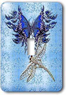 3dRose LLC lsp_55916_1 Beaded look butterfly and jeweled dragon fly art, Single Toggle Switch
