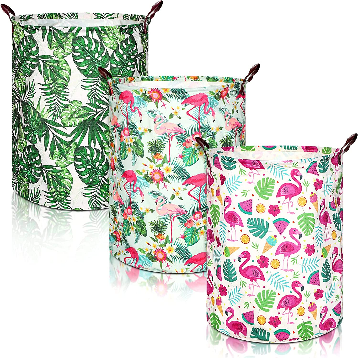 3 Pieces Large Flamingo Our shop most popular Leaf Popular brand in the world Basket Waterproof Foldable Storage