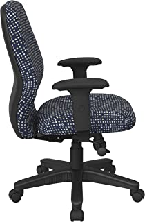 Office Star Ergonomic Mid Back Office Desk Chair with 2-to-1 Synchro Tilt Control and Adjustable Soft Padded Arms, Fine Tu...