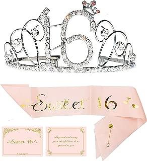 16th Birthday Party Supplies, 16th Birthday Tiara and Sash, Happy 16th Birthday Party Supplies,Sweet 16 Sash & Rhinestone Tiara Kit