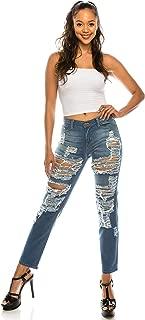 AP Blue Aphrodite Boyfriend Jeans for Women - Relaxed fit Hand Sanding Jeans