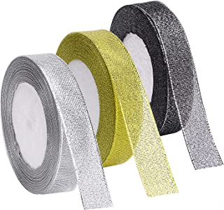 Livder 3 Rolls 75 Yards in Total Metallic Glitter Ribbon for Gift Wrapping Birthday Holiday Graduation Party Decoration (G...