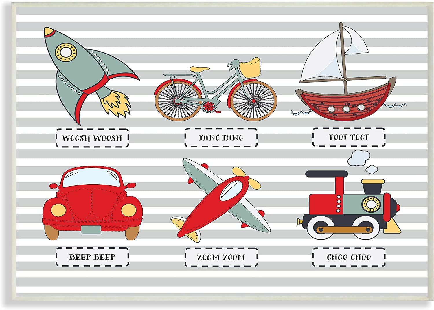Stupell Industries Home Décor Transportation Icons and Noises Wall Plaque Art, 10 x 0.5 x 15