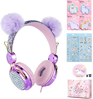 Kids pom pom Headphones Glitter Bear Ear Volume Limiting Adjustable Cute Anime Wired Headphones for Girls Boys School -Purple