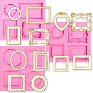 Funshowcase Mirror Frame Candy Silicone Mold, 3 in Set for Sugarcraft, Cake Decoration, Cupcake Topper, Chocolate, Fondant, Jewelry, Polymer Clay, Epoxy Resin, Crafting Projects