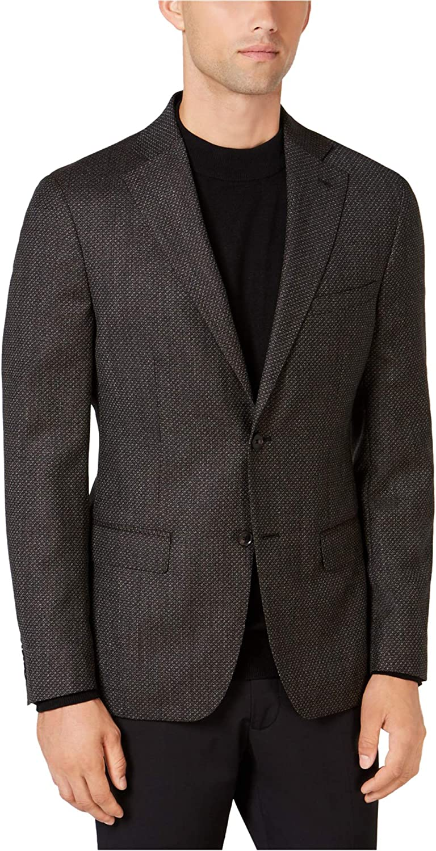 DKNY Mens Hudson Two Button Blazer Jacket, Brown, 46 Regular