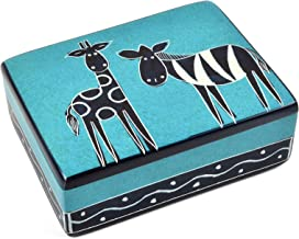 Swahili Imports Cartoon Safari Giraffe & Zebra Small Soapstone Box, Aqua