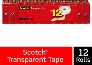 Scotch Transparent Tape, Glossy Finish, Cuts Cleanly, Engineered for Office and Home Use, 3/4 x 1000 Inches, Boxed, 12 Rolls (600K12)