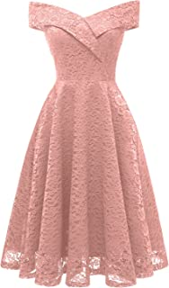 Cocktail Dress for Women Vintage Lace Off-The-Shoulder Homecoming Swing Dress for Juniors-XL-Blush