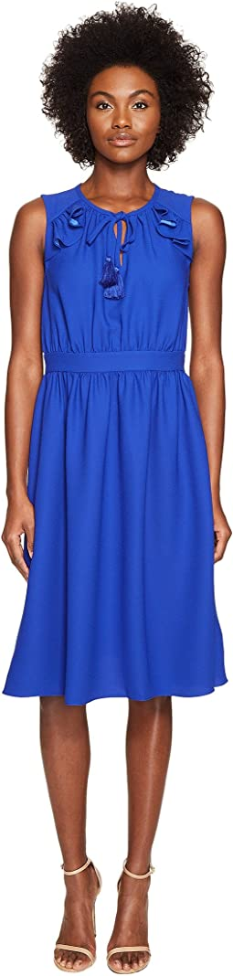 Kate Spade New York Rambling Roses Crepe Ruffle Fit and Flare Dress