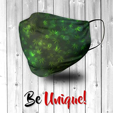 Novelty Native Cannabis Weed Hemp Leaves Marijuana Pot Face Mask - Face Mask - Breathable, Reusable and Machine Washable - Ma