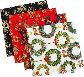HEALLILY 5 Folhas de Tecido de Algodão de Natal Feixes de Patchwork de Natal Impresso Floco de Neve Grinalda de Tecidos Ar...