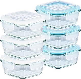 Grizzly Boîte Alimentaire en Verre Hermétiques avec Couvercles Lot de 6 Carrées 320 ml- Boîtes Conservation Sans BPA