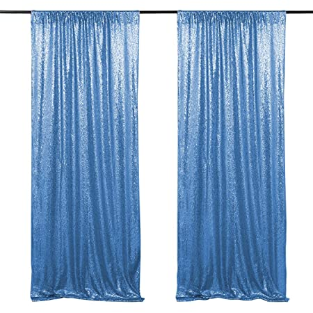 Aqua Blue Sequin Backdrop Curtains 2 Pieces 2ftx8ft Sequin Photo Booth Backdrop Baby Shower Wedding Prom Drapes Photography Background Decor