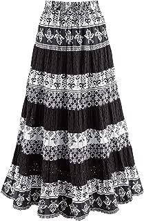 Women's Black & White Tiered Eyelet Skirt - Mixed Patterns Maxi
