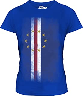 CandyMix Women's Cape Verde Faded Flag T Shirt Fitted T-Shirt Top