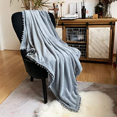 LOMAO Flannel Blanket with Pompom Fringe Lightweight Cozy Bed Blanket Soft Throw Blanket fit Couch Sofa Suitable for All Season(Blue Grey, 60''x 80'')