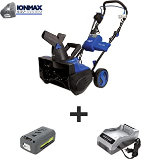 Snow Joe iON18SB-HYB 18-Inch 40 Volt Cordless Brushless Single Stage Snow Blower, Kit (Hybrid w/4.0-Ah Battery + Quick Charger)